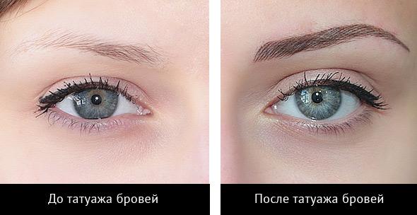 Татуаж бровей: до и после