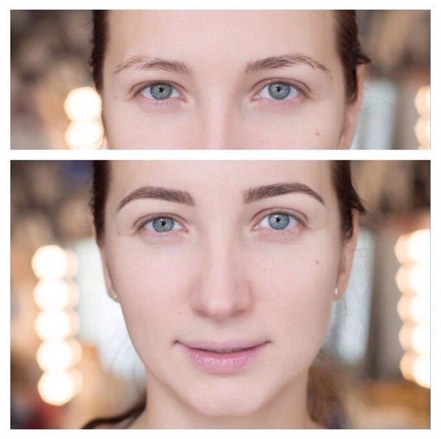 Оформление бровей: до и после