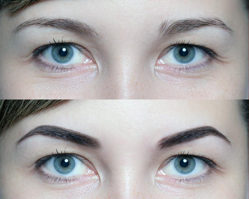Фото биотатуажа бровей: до и после