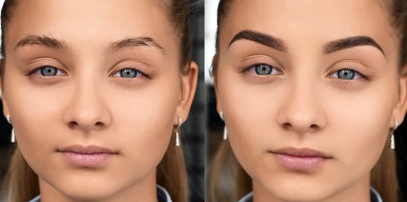 Красиво оформленные брови: до и после