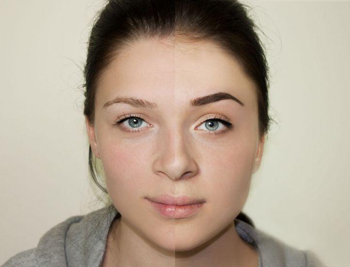 Красивый перманентный макияж у девушки: до и после